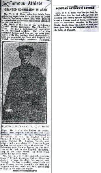 Tidningsklipp från 1918 om Thomas som militär.