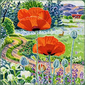 """En aningen beskuren version av """"Vägen till Humleskogen"""", en litografi av Mona Huss Walin."""