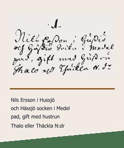 En tjänsteman på UB i Uppsala hittade den här lappen 1959. Det är det första omnämnandet i skrift av Huss-släktens stamfar och stammor. Ur Vi Hussar 1965, s. 11