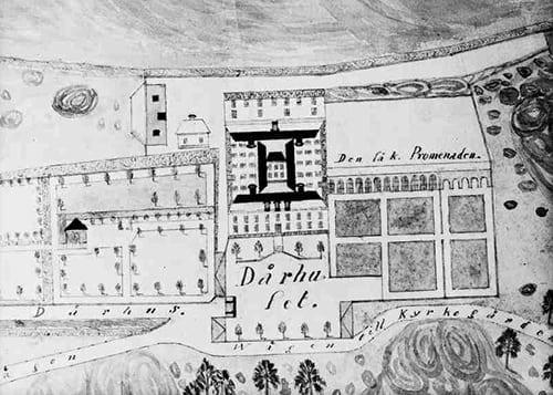 Plankarta över dårhuset med omgivningar från 1848. Foto från Wikipedia.
